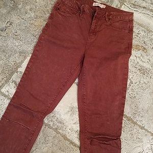 Denim - Maroon distressed jeans